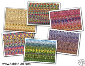 Lot-of-6-Stereogram-Posters-18-034-x13-034-Hidden-3D-illusion