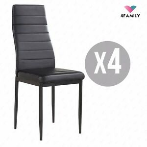 set of 4 stunning black dining chairs comfortable leather