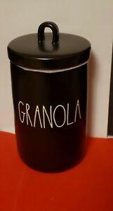 """RAE DUNN Black Ceramic """" GRANOLA """" Canister"""