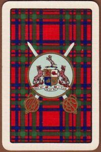 Playing-Cards-1-Single-Card-Old-Vintage-CLAN-TARTAN-Coat-of-Arms-MACINTOSH