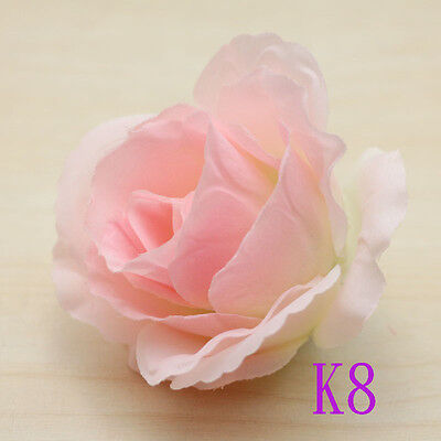 20pcs NEW 9cm Big Roses Silk Flowers Heads Floral Supplies Crafts Snow bud color