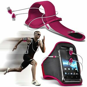 Quality-Sports-Armband-Gym-Running-Phone-Case-Cover-In-Ear-Headphones-Pink