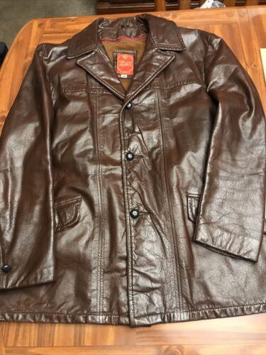 Sherman Mens 46 Brown Leather Vintage 70's Coat ja