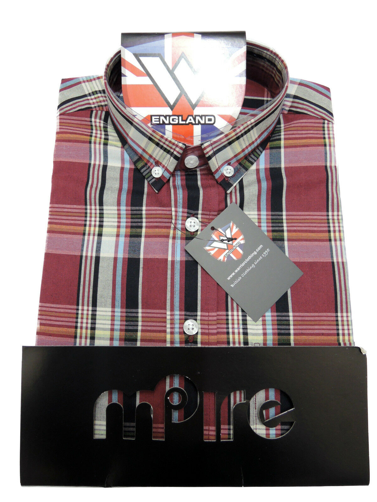 Warrior UK Angleterre SLIM-FIT Button Down Shirt Hawking chemise SLIM-FIT Angleterre skinhead mod SMALL f438c0