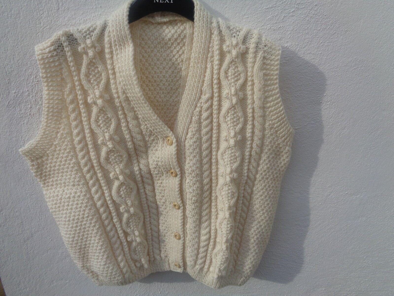 Fatto a mano Taglia M L Crema Crochet Gilet (vedi descrizione)