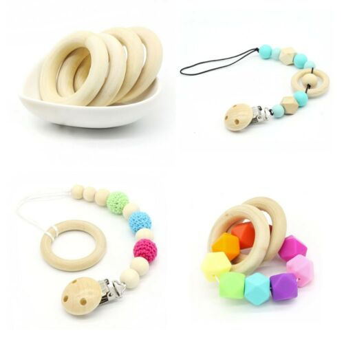 10 pcs 60mm Baby Natural Teething Rings Wooden Necklace Bracelet DIY Crafts New