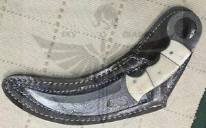 CUSTOM HANDMADE DAMASCUS STEEL HUNTING KARAMBIT KNIFE WITH SHEATH.