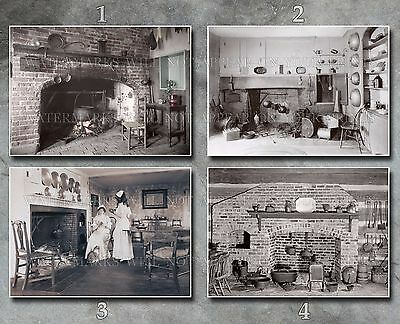 Colonial & Victorian kitchens cooking fire kettle yarn cat 1700 1800s  photos lot | eBay