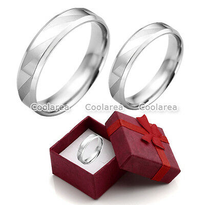 1pc Steel Womens Mens Silver Couple Rings Wedding Band Engagement Promise Ring