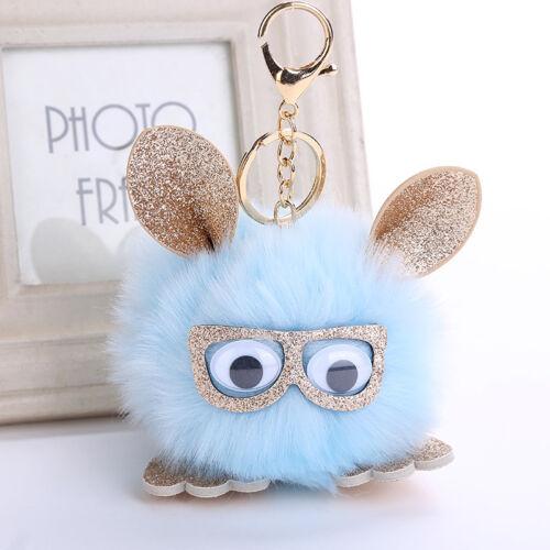 2018 Pompom Cute Owl Keychain Faux Rabbit Fur Bag Car Pendant Fluffy Jewelry Hot