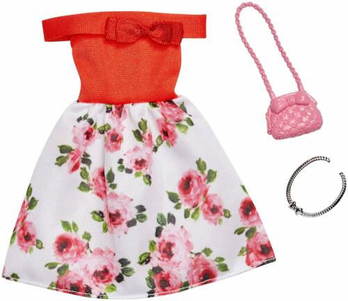 NEW 2019 BARBIE DOLL  FASHION PACK OUTFIT RED FLORAL OFF THE SHOULDERS DRESS