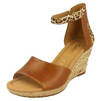 Gabor Ladies Wedge Sandals 42.820 In Peanut With Ankle Strap