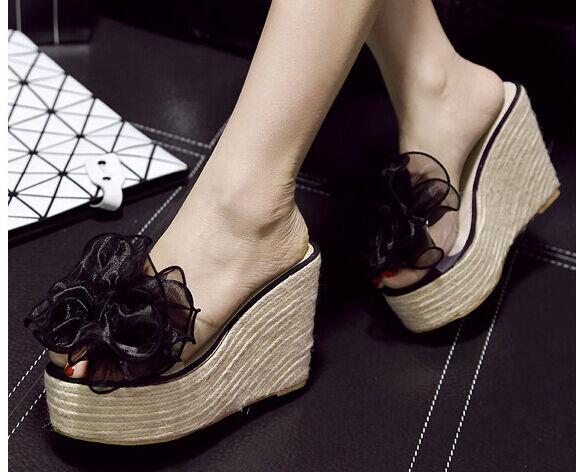 Sandalias zapatillas cuerda mujer en negro cuña plataforma 11 cm elegante y
