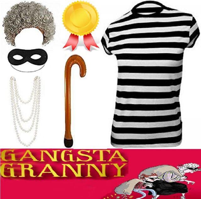 WIG Girls Kids Childs Burglar Gangster Granny Fancy Dress Costume Book Day
