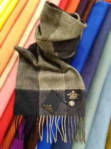100-Pure-Cashmere-Scarf-The-House-of-Balmoral-Navy-Grey-Block-Check-Classic