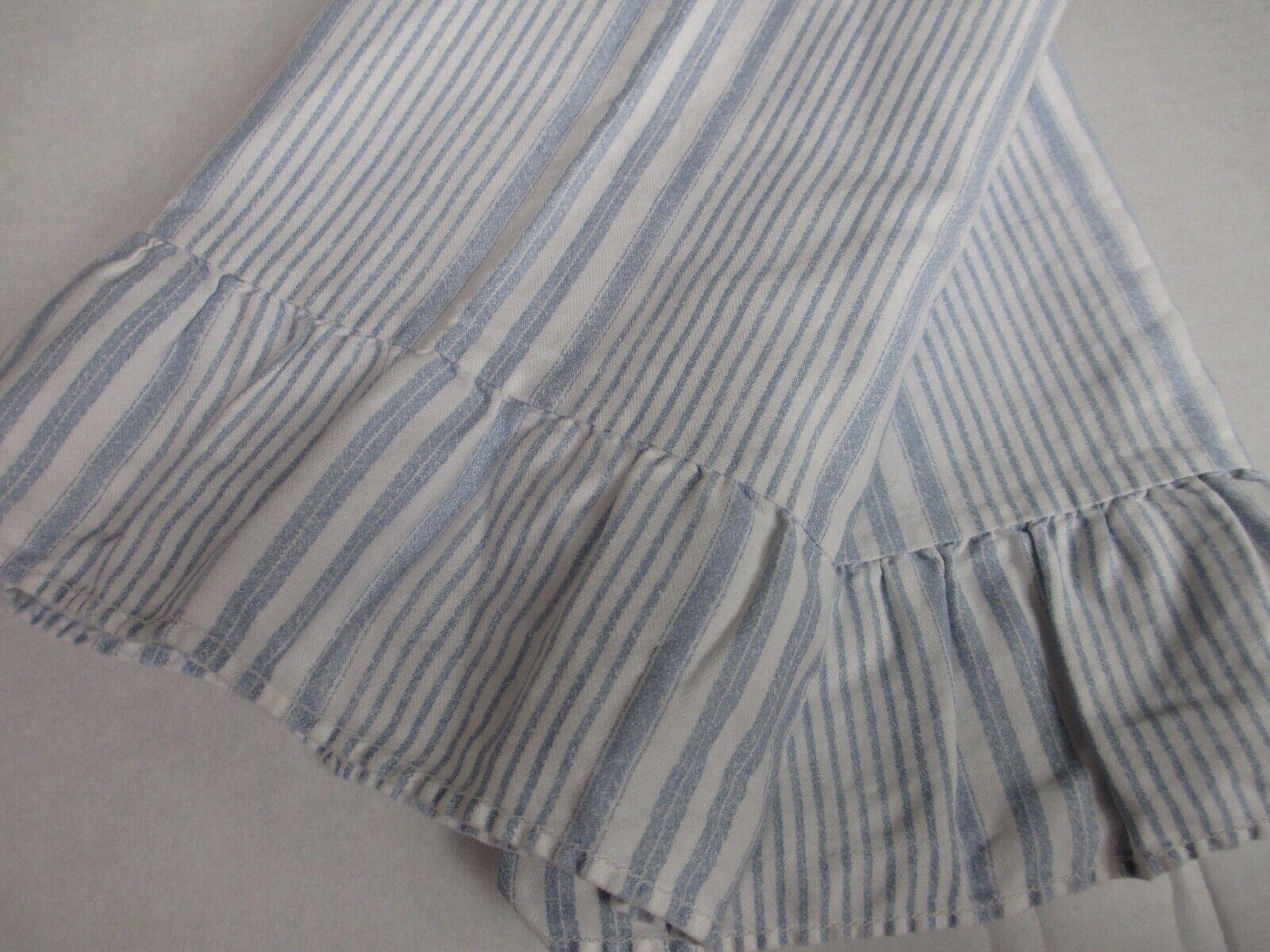 Ralph Lauren SHELTER ISLAND Weiß Blau Striped 2 Ruffled King Pillowcases