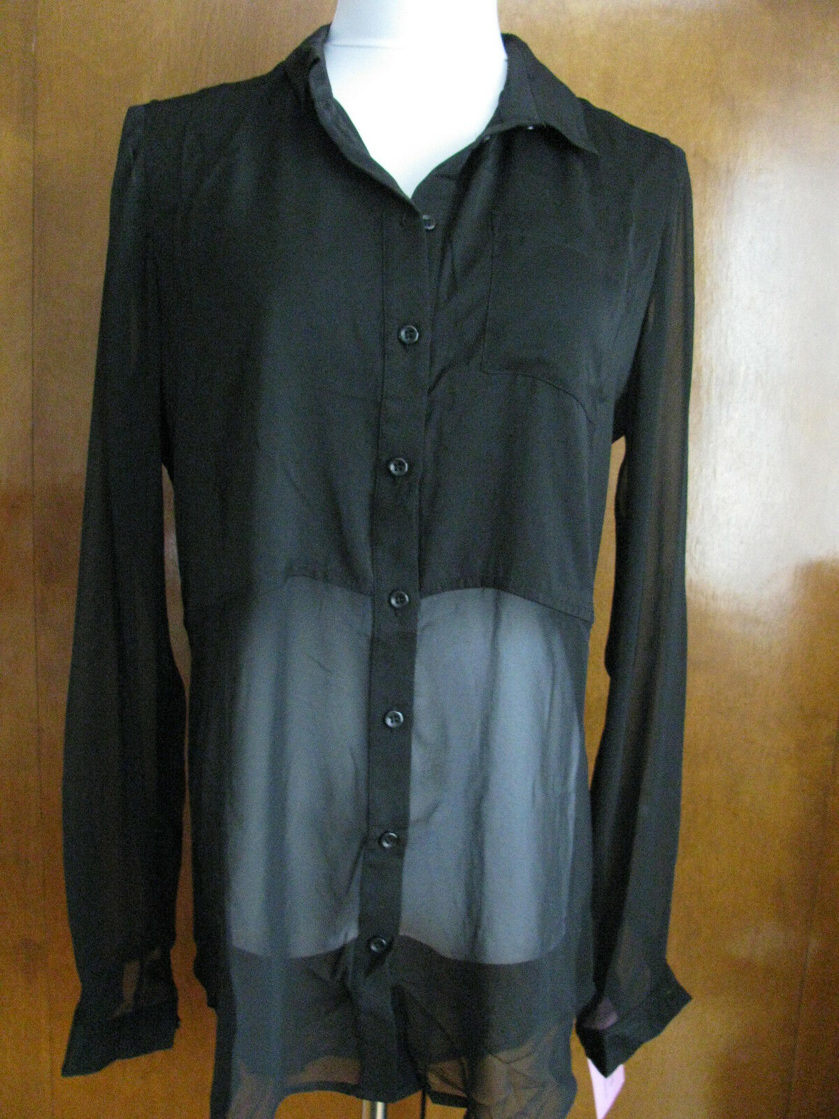 Free People damen schwarz evening have lined mesh long sleeves top medium NWT