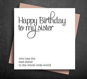 Image Is Loading BIRTHDAY CARD Happy Greetings For Older Sister Best