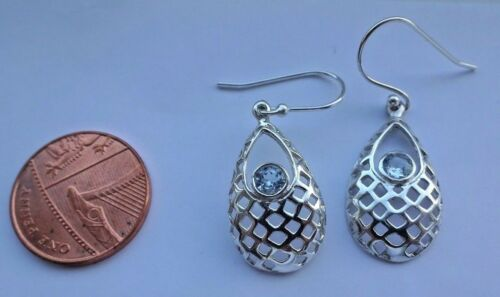Superb Sterling Silver and Blue Topaz Dangley Drop Ear Rings