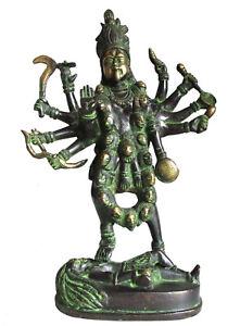 KALI-Statue-aus-Messing-MAA-KALI-Muttergoettin-Hinduismus-H-29-cm-Kalkutta-Indien