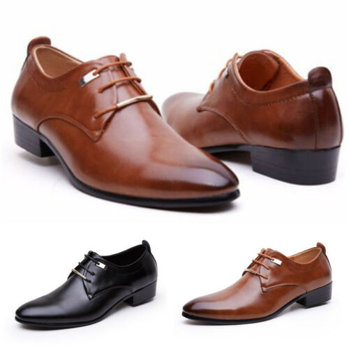 Men Casual Oxford Pointed Leather Lace Up Wedding Formal Dress Shoes Size 8.5-11