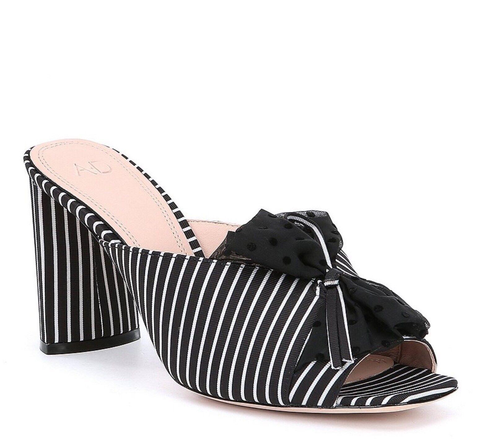 AD & Daughters warmack Stripe Ruffle Detail Block Heel Dress Mules MSRP 180.00