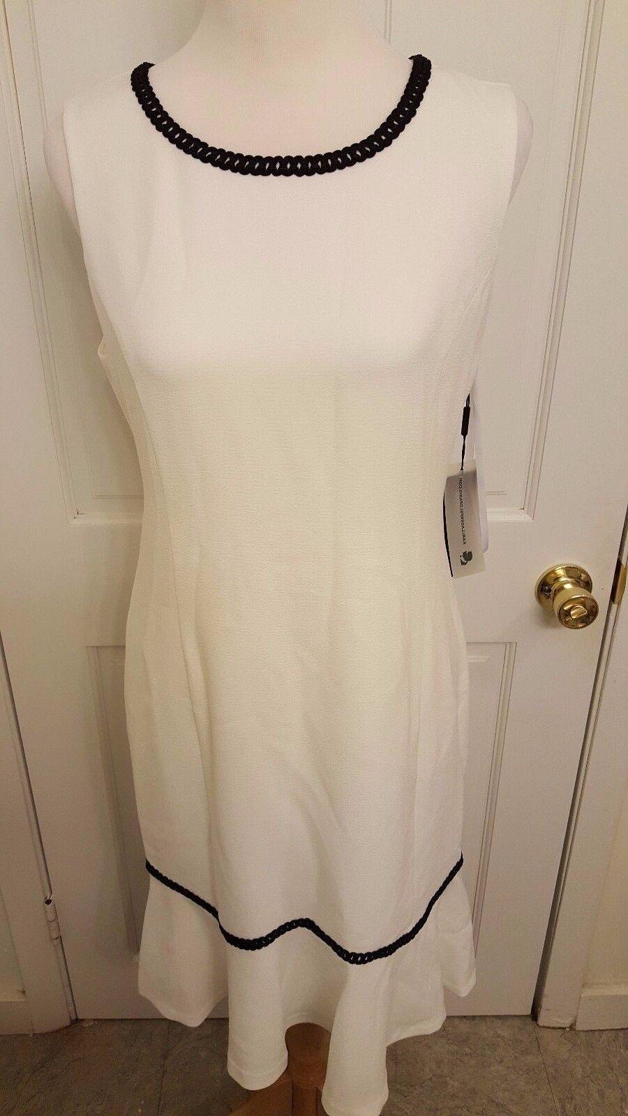 Designer Karl Lagerfeld Weiß Cream Back Zipper Sleeveless Tweed Dress Größe 4