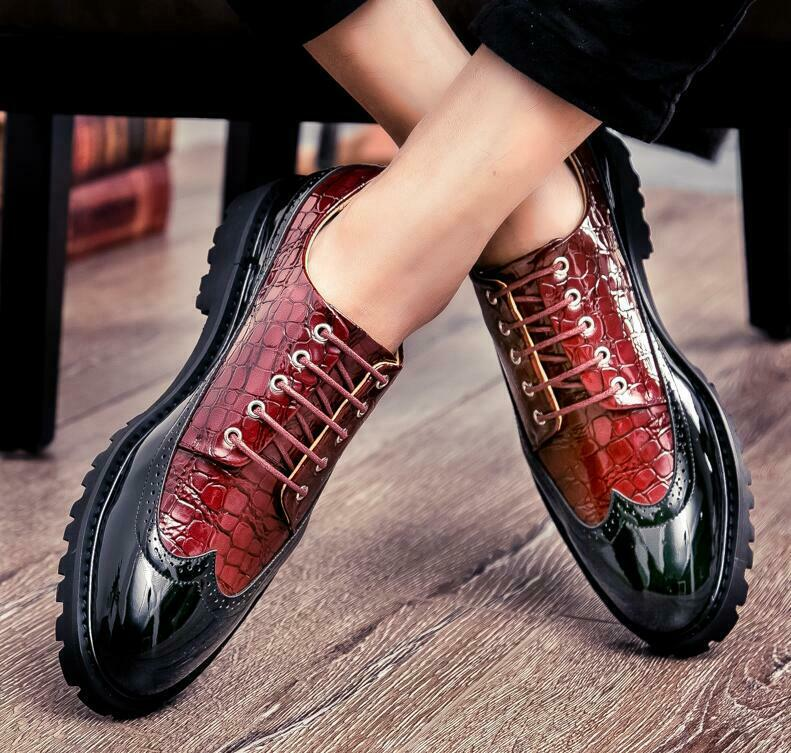 Mens Oxfords Dress shoes Business Formal Brogue Wingtip Lace up British Style