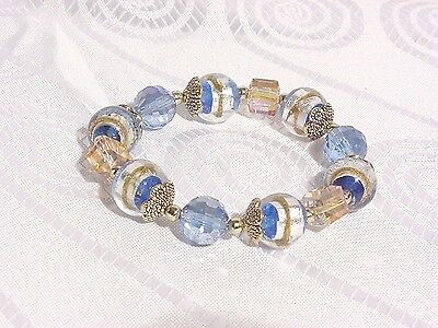 Safari murano glass beaded bracelet aqua and gold d338 724519860664 ebay - Safari murano jewelry ...