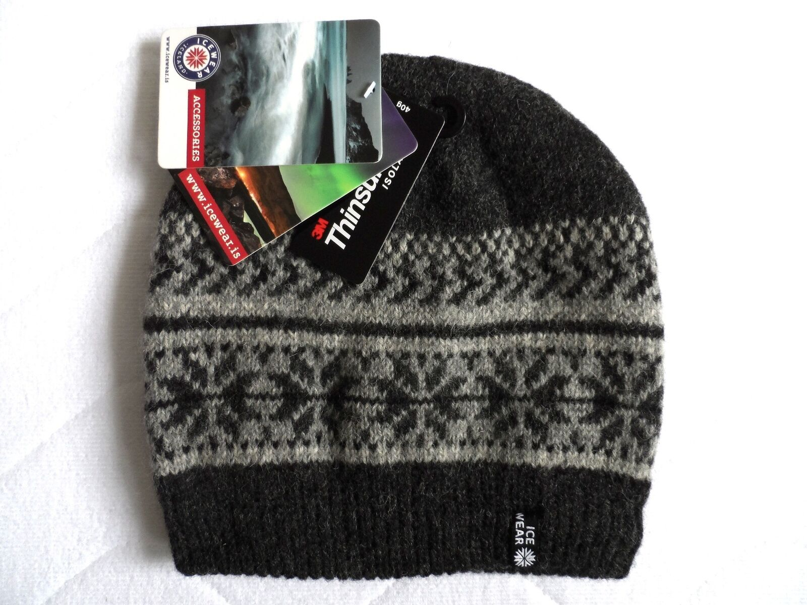 ICEWEAR of ICELAND Charcoal   Grey Lambswool Beanie Tuque Hat OSFA Thinsulate