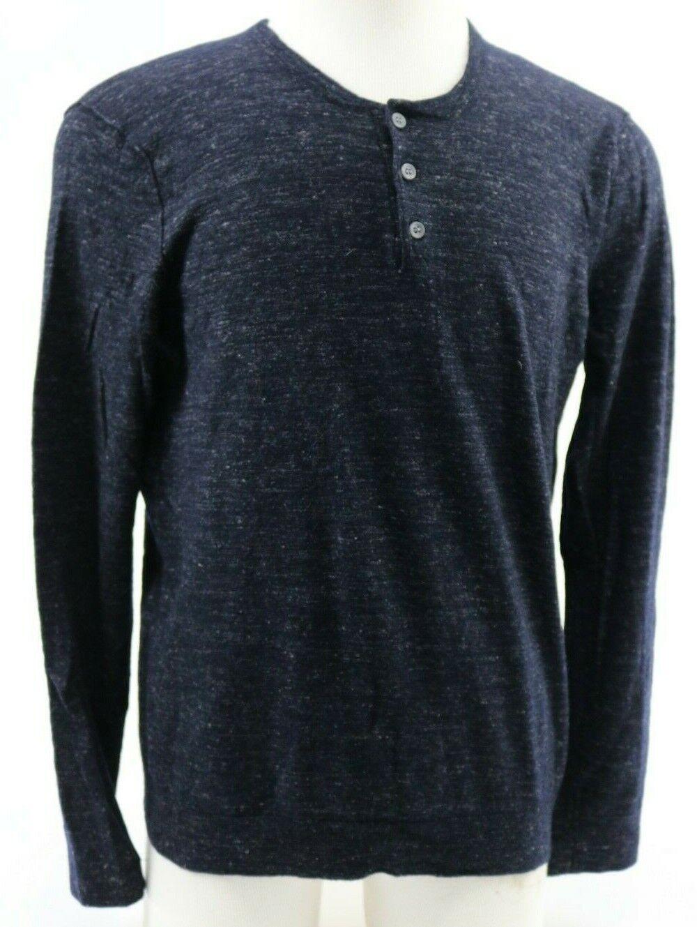 Vince Men's Henley Long Sleeve Shirt Size 2XL Wool Linen Navy bluee