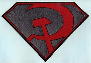 7-034-x-10-034-Large-Red-amp-Gray-Fully-Embroidered-Superman-Red-Son-Chest-Logo-Patch