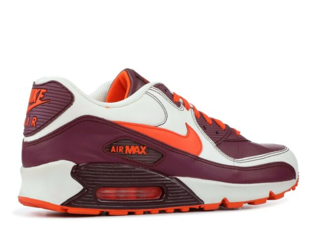2007 Nike Air Max 90 Leather OG SZ 10.5 Sail Orange Blaze Deep Garnet 302519 181