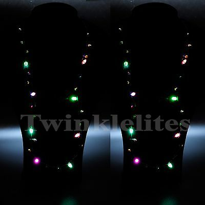 12 Pack Flashing Christmas Light Bulb Necklaces LED Holiday Glow Flashing Lights