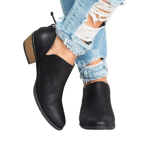 Women Ankle Boots Ladies Casual Mid Block Heel Chunky Booties Shoes UK Size NEW