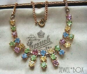 VINTAGE-BEAUTIFUL-Tutti-Frutti-Harlequin-Pastel-Crystal-Rhinestone-NECKLACE-GIFT