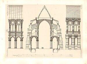 1858 Große Architektur Aufdruck ~ Chartres Kathedrale Medieval Gothic Kunst