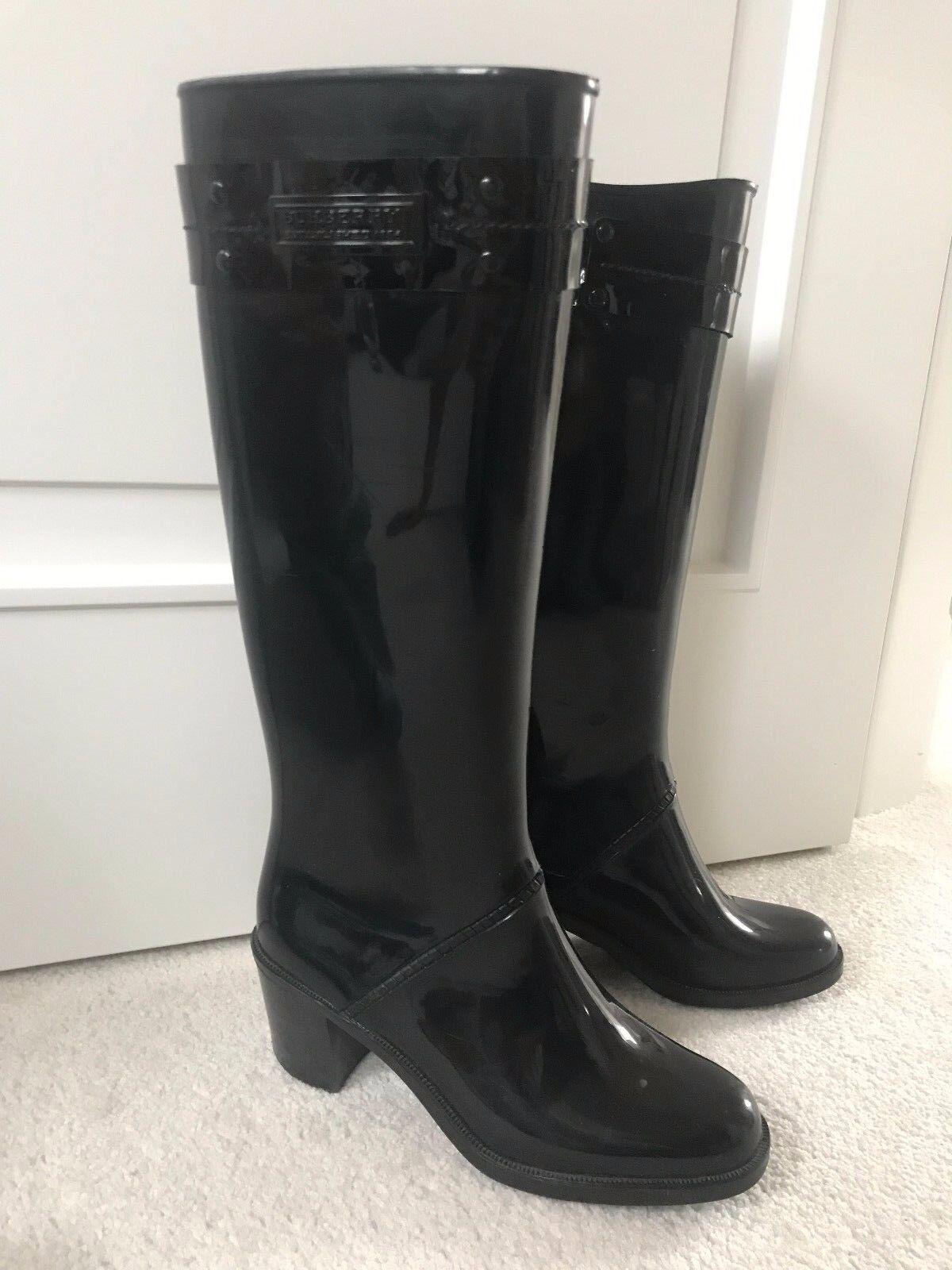 Burberry patent black rubber tall heel Rainboots Boots 37, 6 1 2