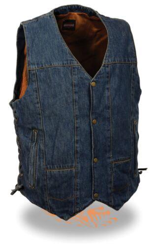 Men/'s BLUE Classic 8 Pocket Snap Front Denim Vest with Side Lace /& Gun Pocket