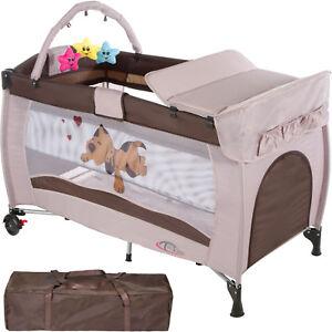 Cuna de viaje portátil plegable con acolchado ajustable para bebé coffe