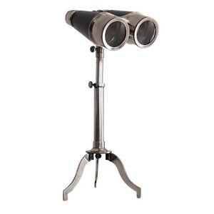 Victorian-Binoculars-Silver-amp-Leather-w-Tabletop-Tripod-16-5-034-Solid-Brass-New