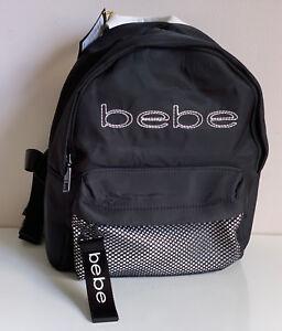 NEW-BEBE-MELANIE-BLACK-MINI-TRAVEL-BACKPACK-BAG-PURSE-79-SALE
