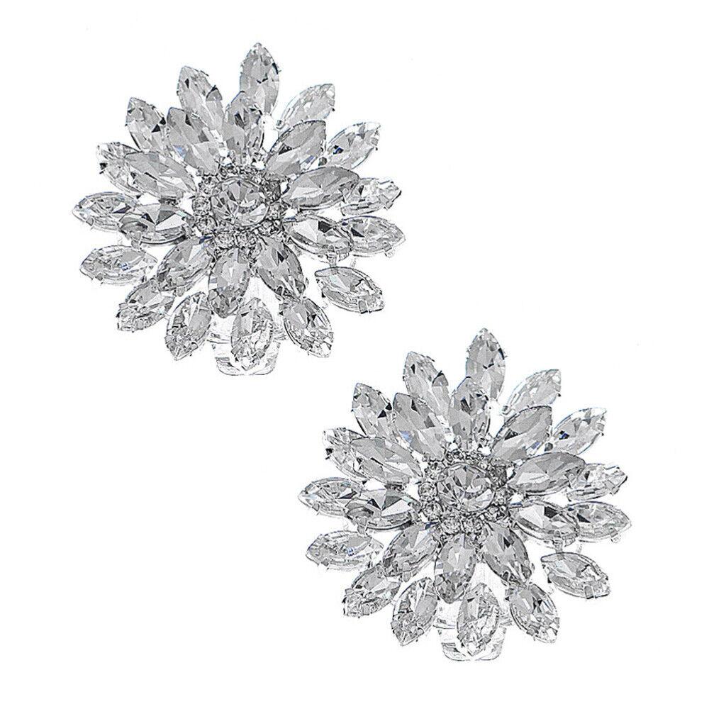 1 Pair Clips Fashion Decorative Rhinestone Shiny Dress Shoes Buckles for Wedding