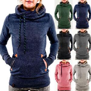 Damen-Kapuzenpullover-Pullover-Hoodie-Sweatshirt-Kapuze-Lang-Sweater-Jumper-Tops