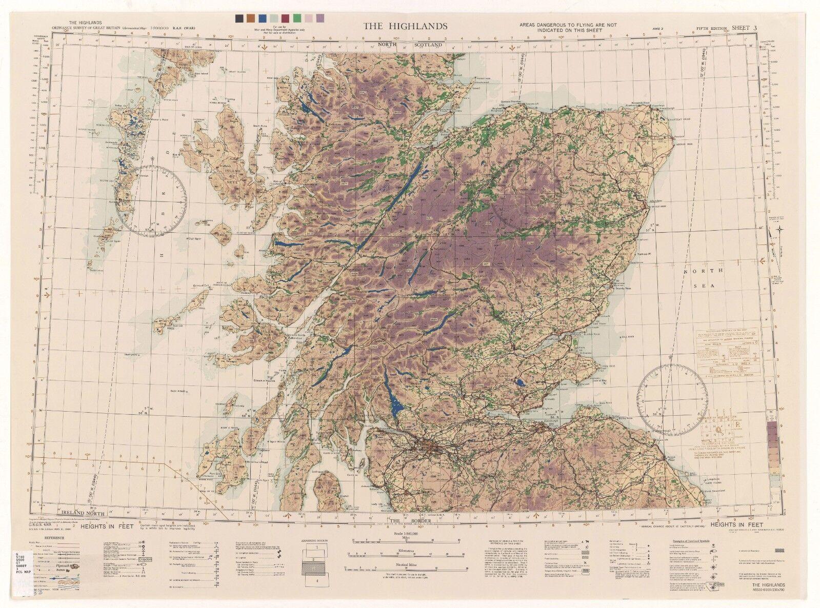 WW2 RAF MAP OF THE HIGHLANDS PRINT