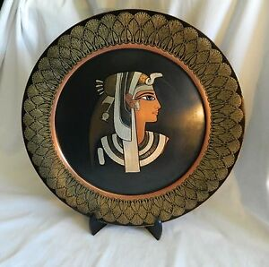 Egyptian-Brass-Decor-Plate-Lotus-Black-Gold-Queen-Cleopatra-15-5-034