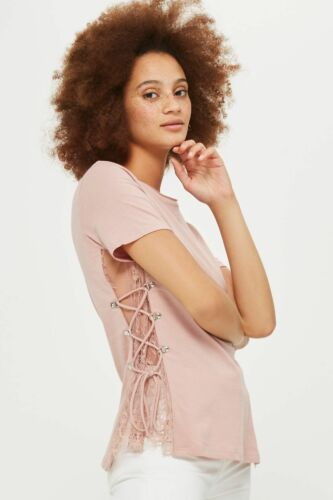 Ex TOPSHOP PINK  T-Shirt with LACE SIDE INSERT /& LACING  Size 6 8 10 12 14 16