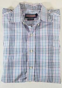 VINEYARD-VINES-Men-039-s-Blue-Plaid-Button-Down-Cotton-Murray-Shirt-Sz-L-defect