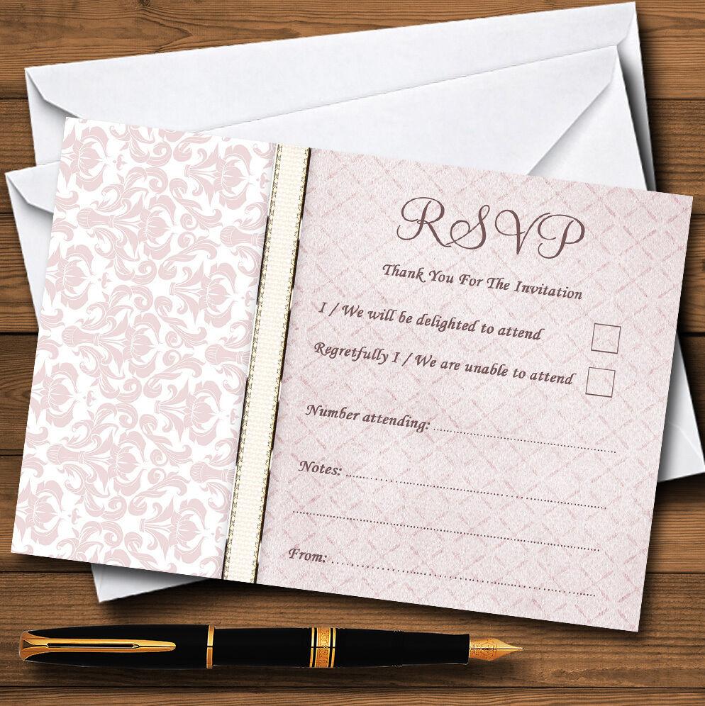 Rose sombre sombre Rose rose damassé vintage pearl personnalisé rsvp cartes 3ad924
