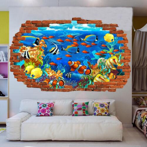 Sous-marin poissons tropicaux Autocollants muraux 3D Art Mural Poster Bureau Shop DECOR UR0